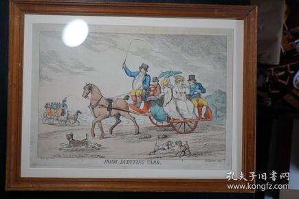 十九世纪初欧洲全彩铜版讽刺漫画页——爱尔兰二轮马车