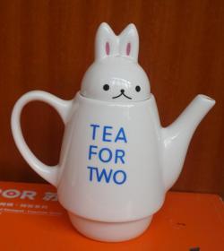 兔子头白瓷茶壶(旧)高17厘米 无磕碰(x13)
