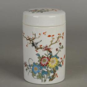 仿古粉彩描金菊花鸟纹/小茶叶罐