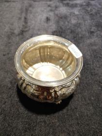 西洋 欧洲古董 餐具 银器 银罐 800银 刻花 160克
