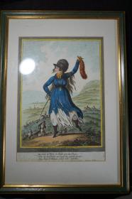 """十八世纪末欧洲全彩铜版讽刺漫画页——""""狩猎归来的狄阿娜"""""""