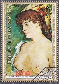 外国邮票-几内亚拉斐尔油画、美女人名画(裸胸)大幅美人油画邮票,原胶全新盖销票