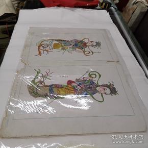 (56年杨柳青年画采花仕女(有版权52#38CM廉增戴记