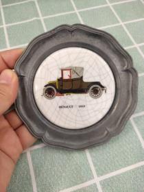 西洋 欧洲 装饰盘 挂盘 杯垫 陶瓷金属 Renault 雷诺 1910 10cm