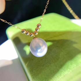 母亲节特惠 极品原色海水澳白珍珠项链 18k金精工镶嵌