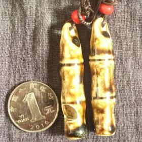 酱釉陶瓷情侣哨挂件