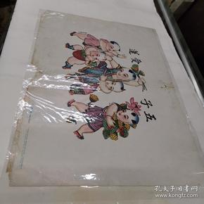 (56年杨柳青年画五子爱莲(有版权52#38CM廉增戴记