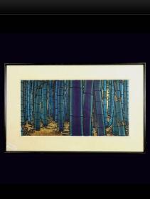 近代日本版画 《Bamboo》 克里夫顿卡尔胡 编号34/50  1968年创作 早期作品 亲笔签名 少见佳作!