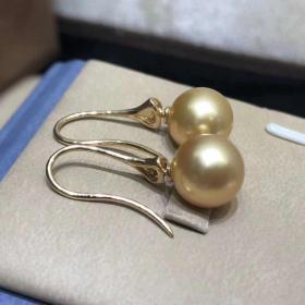 母亲节特惠 天然海水南洋金珠耳钩 18k金精工镶嵌 一对