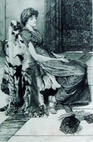 1886年铜版蚀刻版画《安静的宠物》—英国画家劳伦斯·阿尔玛-塔德玛(Lawrence Alma-Tadema1838-1912)作品 尺寸:32x24cm