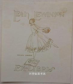 西班牙早期线刻版藏书票起舞仕女藏书票
