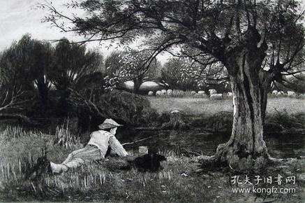"""""""原创版画""""1886年铜版蚀刻版画《小钓手》——英国 John Fullwood (1851-1931年)雕刻 尺寸:32x24cm"""