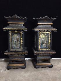 清代老木胎漆器宮燈一對 高67公分  直徑約30公分