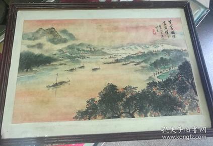 文革未署名的画作一张(芙蓉国里尽朝晖)敬录毛主席诗意,七律,答友人,原镜框装裱。画在硬卡纸上,画得非常好。