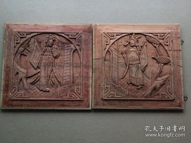 《特价》精美,清代民国穆桂英挂帅人物木雕一对