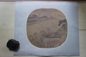 早期木板水印绢本(40*33.5CM):竹雀图