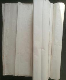 【老宣纸】 八九十年代四尺整纸55张,刀口印不清晰,疑为鸡球,有黄斑