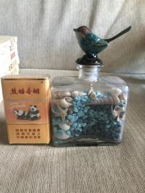 地中海风情  蓝色海砂玻璃小鸟装饰瓶 含贝壳海星等 记得购于西班牙
