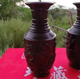 越南沉香木雕龙凤呈祥花瓶摆件 家居实木装饰品乔迁送礼礼品