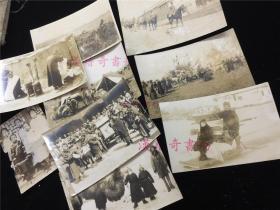 侵华史实满洲时代老照片9张:五个小脚女人合影、俄女人坐冰车、蒙古人、街头剃头、日军装甲车等,