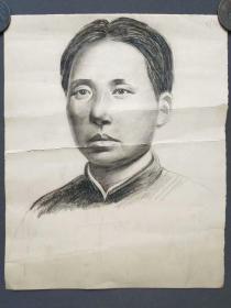 文革时期毛主席铅笔素描画原稿一幅,青年时期毛主席头像——3746