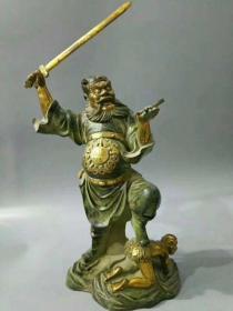 旧藏青铜鎏金钟馗   尺寸,高60公分  宽32公分 重量:13.28斤