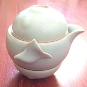 景德镇仿汝瓷青釉茶壶茶杯一套