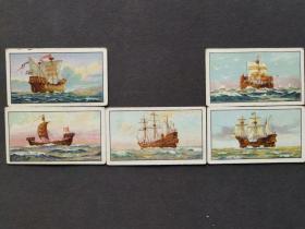老烟卡wills,london老烟标,5张一组,theevolutionofthebritishnavy英国海军的演变烟卡——3754