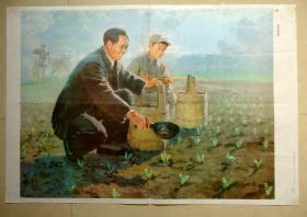教学挂图   杨家岭的早晨  毛主席 蔡亮绘  上海教育出版社