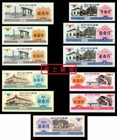 粮票-哈尔滨1985版正规粮票11种  95-10品