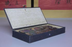 清代  彩绘山水诗词墨砖文房用品,尺寸9.3*2.0*21厘米,细节图如下