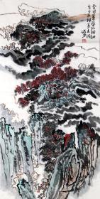 (书法字画)....陆俨少,【陆俨少 】 ,近现代著名画家,3尺山水写意, 《  春韵 ....》,100 X 50CM.....