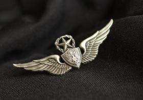 极品顶级美国空军顶级徽章金属不掉色可佩带西服上质量上乘堪比原品值得佩戴和收藏(银色)
