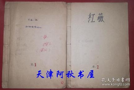 已故天津市作家协会副主席柳溪长篇小说《功与罪》1-5章手稿2册16开228页