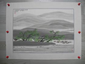 【名家书画】中国山水画研究会会员/沙丘画院副院长尹成涛山水画《春风/60*42》