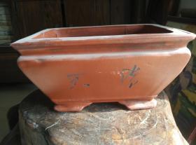 长方形紫砂老旧花盆,