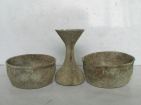 清代;锡制老酒壶、锡钵(3件古董一起和售)