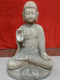 北魏時期·漢白玉精雕釋迦摩尼佛一尊 尺寸  高54公分,寬35公分·重量:92斤,