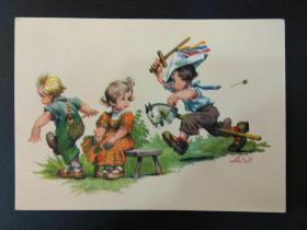 老 明信片 德国 男孩 女孩 系列 847-6