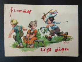 老 明信片 德国 男孩 女孩 系列 847-6 有写字