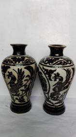 耀州窑黑釉雕刻、剃花朱雀、白虎---长安老窖瓷酒瓶(新瓶未装过酒);单价