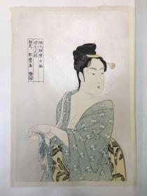 日本江户时代浮世绘画家 喜多川歌麿 木版画——妇人相学十躰(画作以美人见长) 画面背景施以云母增强立体效果
