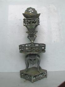 清代锡制老油灯(7层工做工精湛、意境独特深刻,藏家必收藏的经典佳品)
