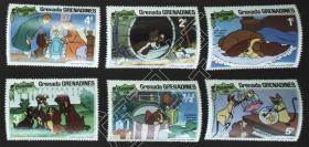 外国邮政用品、邮票、故事、童话、格林纳达·格林纳丁斯1981年美国第15部动画片小姐与流氓,圣诞节,有的齿孔有轻黄现象,品总体不错