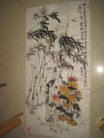 山东老年大学姬脉庆花鸟画一幅.