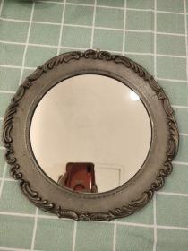 西洋 欧洲古董 镶嵌 镜子 直径23cm