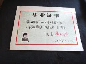 毕业证书  1986