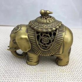 纯铜大象香炉铜摆件香熏炉铜器老货旧货古玩收藏家居装饰礼品