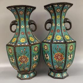 清代纯紫铜景泰蓝八方花瓶,高37cm宽17.5cm口径14.5cm