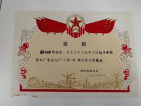 """1978年""""工业学大庆""""老奖状(植绒)"""